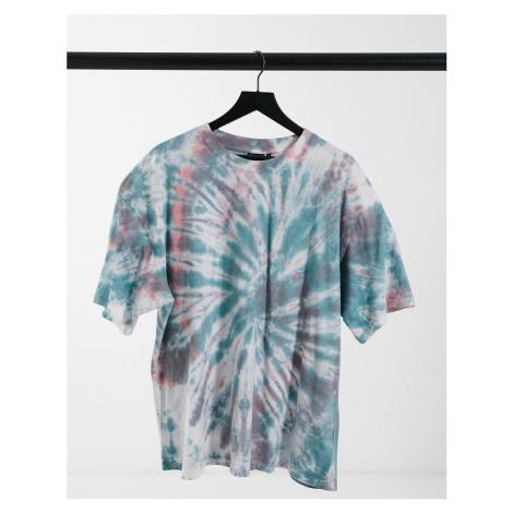 ASOS DESIGN oversized t-shirt in grunge spiral tie dye-Multi