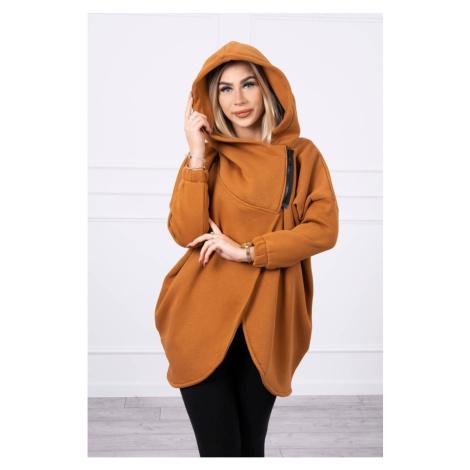 Sweatshirt with short zipper camel Kesi