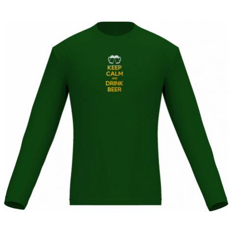 Pánské tričko dlouhý rukáv Keep calm and drink beer