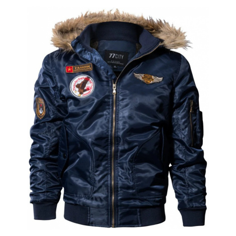 Pánská bunda na zip stylová bunda s nášivky a kapucí s kožíškem
