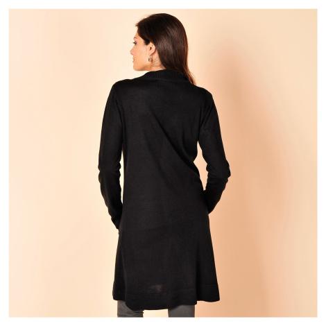 Blancheporte Dlouhý svetr bez zapínání černá
