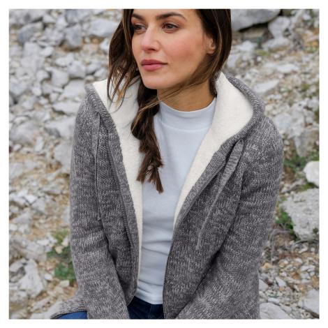 Blancheporte Žíhaný svetr na zip, se syntetickou kožešinou šedý melír