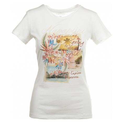 Napapijri dámské tričko beach krémové s potiskem