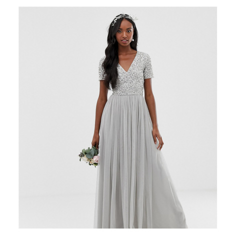 Maya Tall Bridesmaid v neck maxi tulle dress with tonal delicate sequins in silver-Grey
