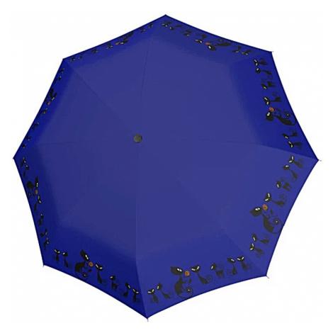 Modrý plně automatický skládací dámský deštník Kočky
