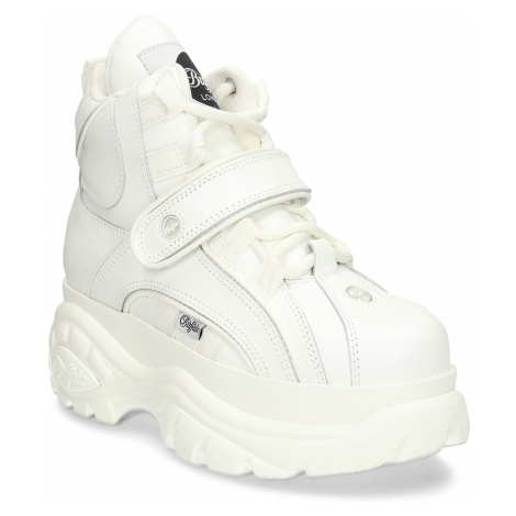 Bílá kožená kotníková obuv Buffalo na vysoké podešvi