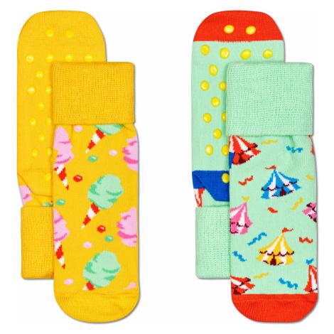 2-Pack Kids Circus Anti Slip Happy Socks