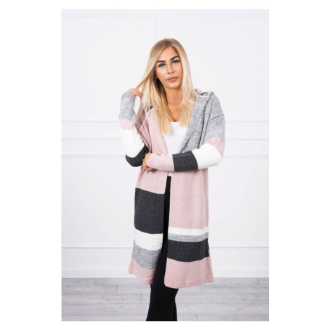 Four-color striped sweater powdered pink+graphite+gray Kesi