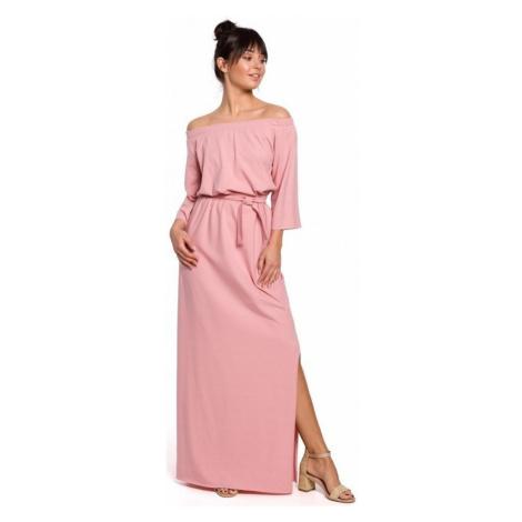 Be B146 Maxi šaty na ramínka - růžové ruznobarevne