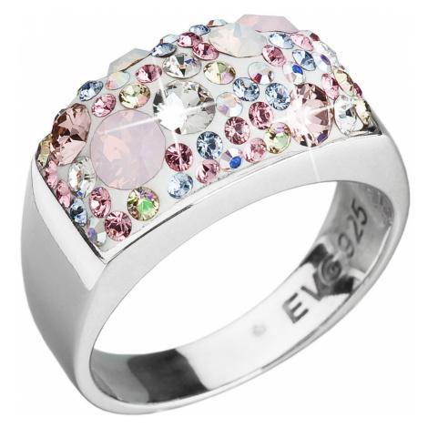 Evolution Group Stříbrný prsten s krystaly Swarovski růžový 35014.3