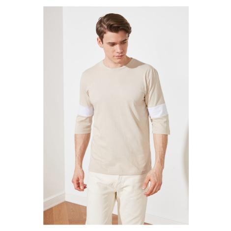 Trendyol Beige Men's Regular Fit Panel T-Shirt