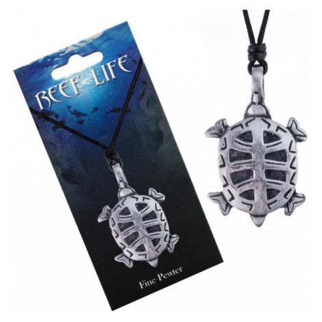Náhrdelník - šňůrka, kovový přívěsek, vyřezávaná želva Šperky eshop