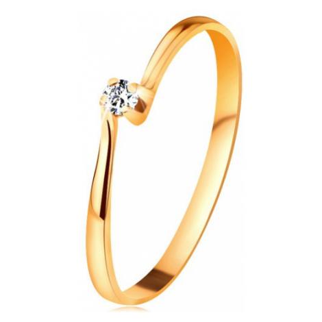 Zásnubní prsten ze žlutého 14K zlata - zirkon v kotlíku mezi zúženými rameny Šperky eshop