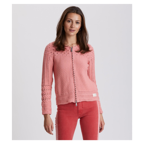 Svetr Odd Molly Symmetry Moves Zip Cardigan - Růžová