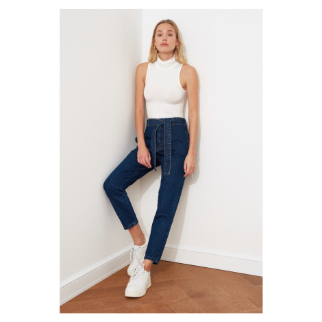 Trendyol Indigo Belt Pocket Detailed High Waist Mom Jeans
