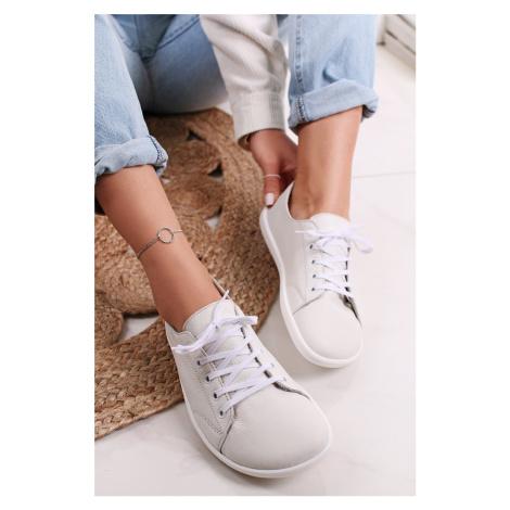 Bílé kožené barefoot tenisky Prime Be Lenka