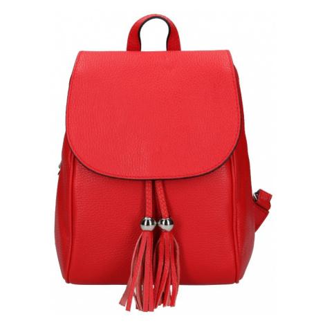 Dámský kožený batoh Vera Pelle Anita - červená
