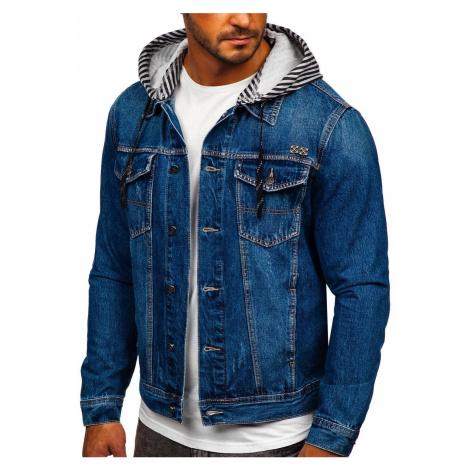 Tmavě modrá pánská džínová bunda s kapucí Bolf RB9888-1