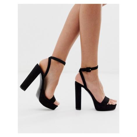 ASOS DESIGN Nutshell platform barely there heeled sandals in black