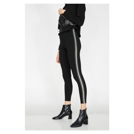 Koton Women Black Striped Leggings