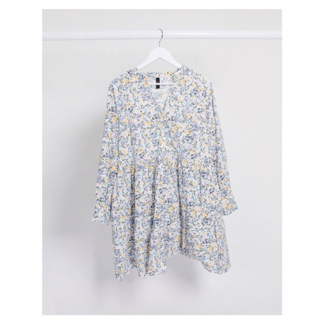 Y.A.S smock dress with long sleeves in white ditsy floral-Multi