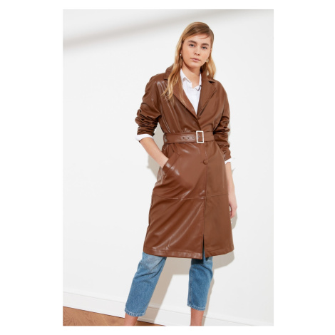 Trendyol Brown Arched Suni Leather Long Trenchkot