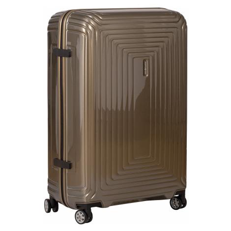 Cestovní zlatý skořepinový kufr Samsonite