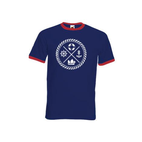 Pánské tričko s kontrastními lemy námořník