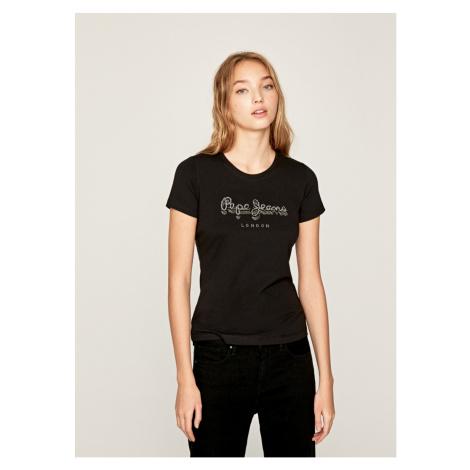 Pepe Jeans Pepe Jeans dámské černé tričko s kamínky Beatrice