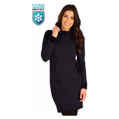 LITEX 7B102 Mikinové šaty s kapucí tmavě modrá