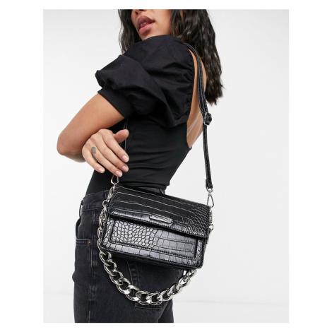 Bershka mock croc cross body bag with thick chain in black