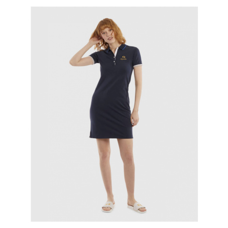 Šaty La Martina Woman Dress S/S Piquet Stretch - Modrá