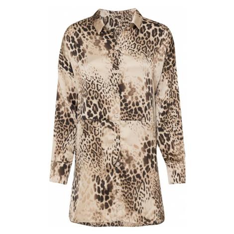 Missguided Košilové šaty hnědá / béžová / champagne