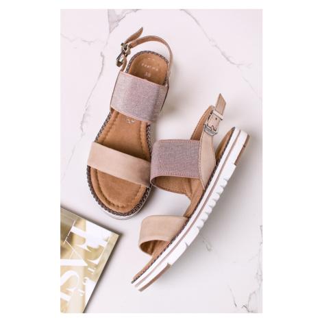 Béžové kožené sandály 2-28127 Marco Tozzi