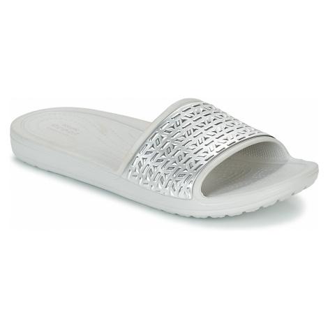 Crocs SLOANE GRAPHIC ETCHED SLIDE W Stříbrná