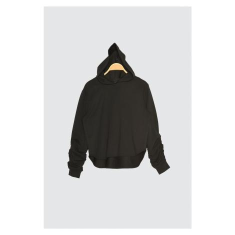 Trendyol Black Hooded Sleeves Ruffled Sports Sweatshirt