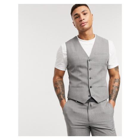 Celio slim waistcoat in dark grey check