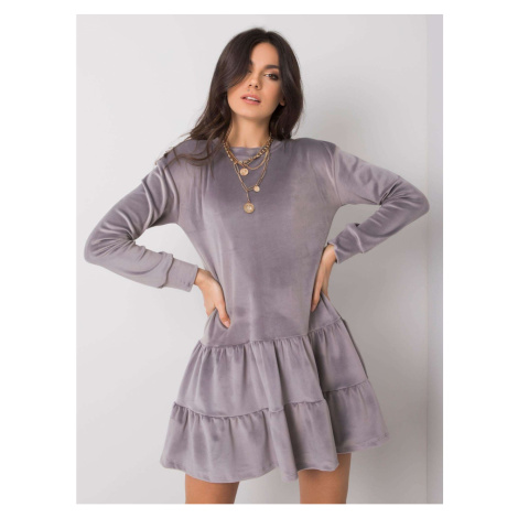 RUE PARIS Gray velvet dress Fashionhunters