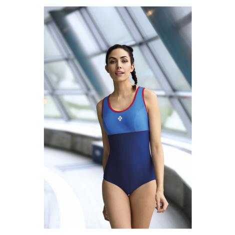 Jednodílné dámské plavky Self S 32 P tmavě modrá-zelená