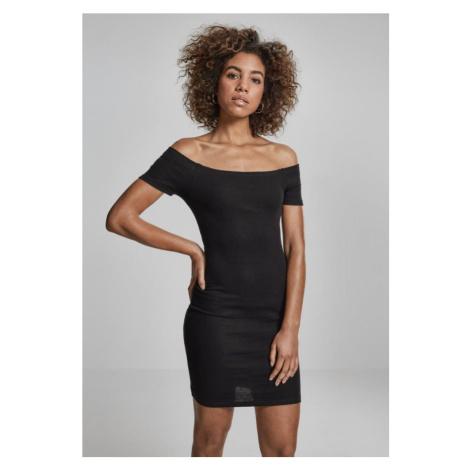 Ladies Off Shoulder Rib Dress - black Urban Classics