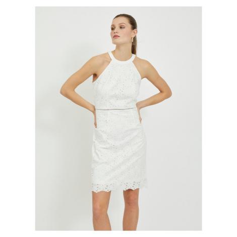 Vila bílé pouzdrové šaty s krajkou Emmie