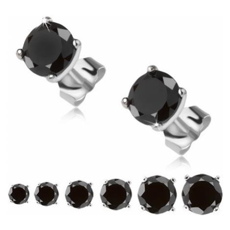 Náušnice ze stříbra 925, černý okrouhlý kamínek v kotlíku Šperky eshop