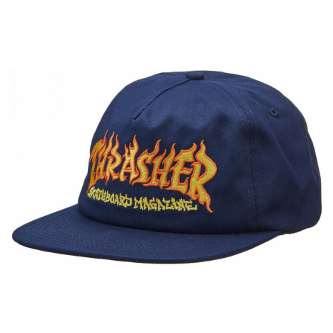 Thrasher Cap fire logo snapback Modrá