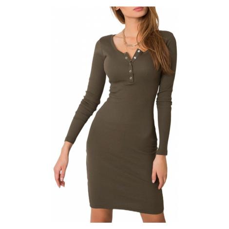 Khaki šaty s dlouhým rukávem Rue Paris