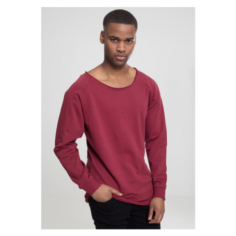 Urban Classics Long Open Edge Terry Crewneck burgundy