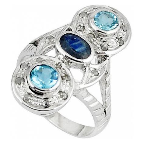 AutorskeSperky.com - Stříbrný prsten se safírem, topazy a diamanty 0.30 kt -  S3104