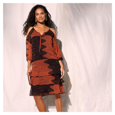 Blancheporte Volánové šaty s potiskem černá/paprika