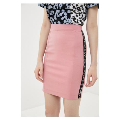 Calvin Klein Calvin Klein dámská růžová elastická sukně MILANO LOGO ELASTIC SKIRT