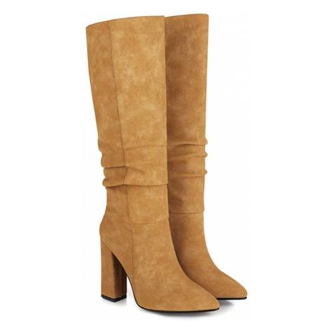 Semišové kozačky s nabíráním módní boty na širokém podpatku