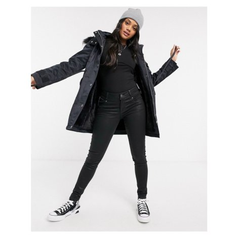 Morgan ruched waist detail coat with faux fur hood detail in navy